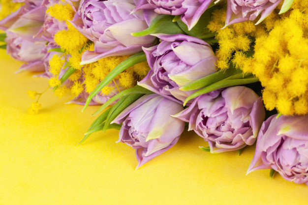bouquet-lilac-tulips-yellow-mimosas-yellow-surface-copy-space-side-view-closeup_91130-218